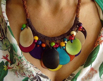 Leather and Tagua Nut Necklace, Ethnic and Tribal Jewelry, Re-Cycled Necklace, Colombian Fashion Jewelry,  Eco-Friendly , Seed Necklace