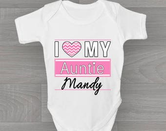 Favourite auntie baby grow personalise with name gift for personalised i love my auntie baby grow cute unique vintage style bodysuit baby gift negle Image collections