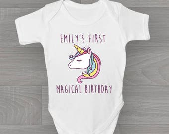 Personalised Unicorn My First Magical Birthday! Baby Grow, Bodysuit Baby Onesie Vest New Arrival Gift.