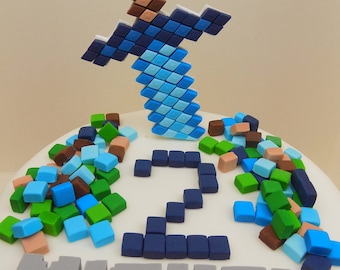 Handmade  Minecraft cake toppers squares personalised edible birthday, shipping from UK
