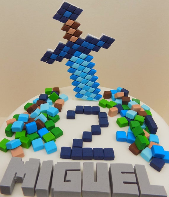 Handmade Minecraft cake toppers squares personalised ...