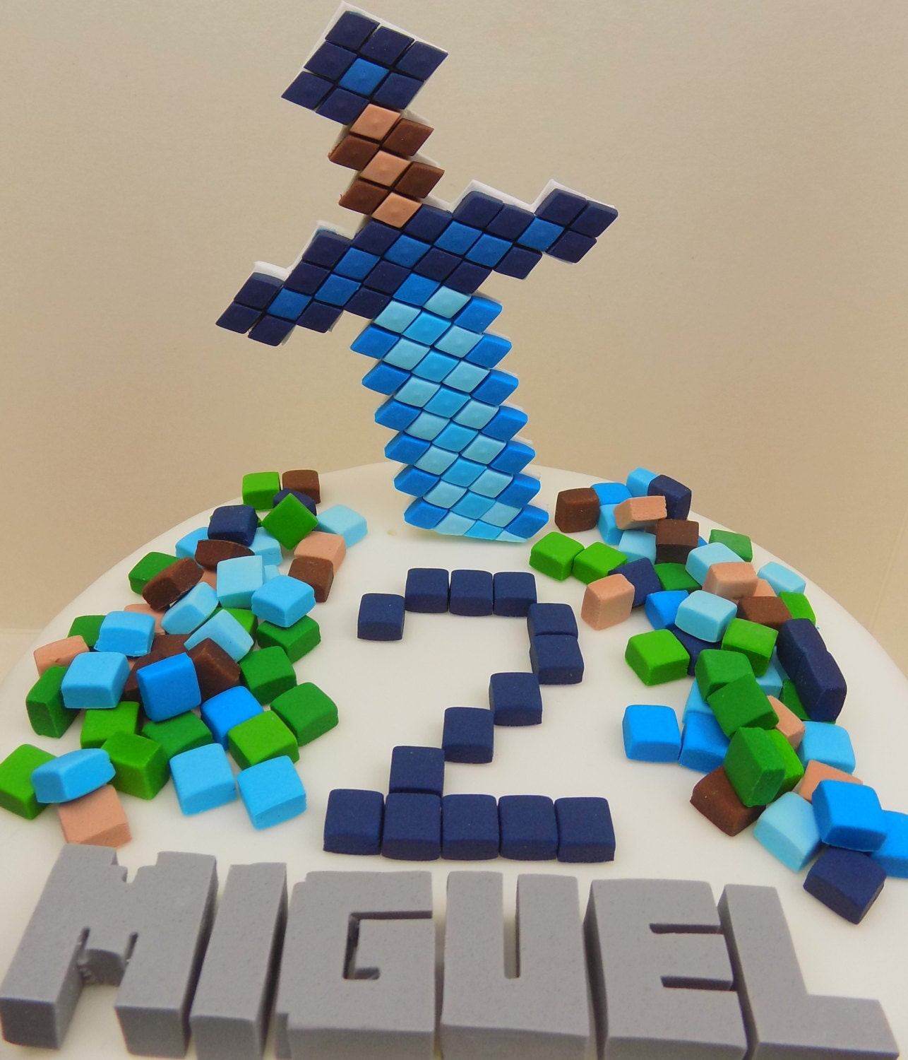 Handmade Minecraft Cake Toppers Squares Personalised Edible