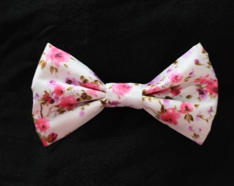 White and Pink Flower Pattern Bow