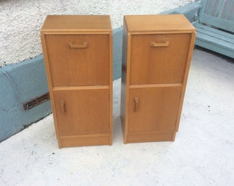 Vintage G Plan Brandon pair of 1950s tall bedside cabinets