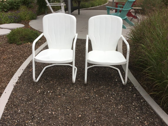 Vintage Outdoor Newly Powdercoated Metal Chairs