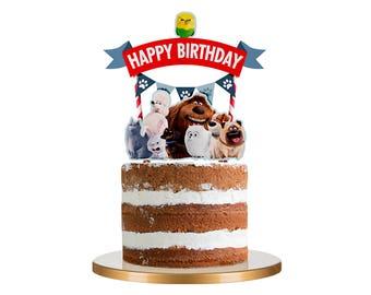 Secret life of Pets Cake Topper, Secret life of Pets Cake Topper Set, Secret life of Pets Cupcake Toppers, Cake Kit, Secret Life of Pets