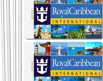 2x Royal Caribbean Cruise Line Luggage Tags Baggage Suitcase Travel Trip Name ID Tag Sets
