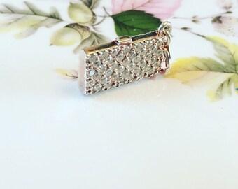 Sterling Silver Swarovski Handbag Charm, Silver Charm, Swarovski Crystal Charm, Jewellery Gift For Her.