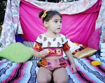 5 Years Frida Block Print Crop Top, Tutu Crop Top, Hippie Toddler Top, Bohemian Crop Top, Kids Fashion, Tutu Top, Bloomers