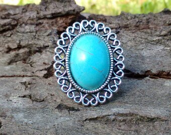 Turquoise Ring, Adjustable Ring, Statement Ring, Bohemian Ring, Boho Jewelry  Howlite Ring, Turquoise Jewellery, Turquoise Heart Ring,