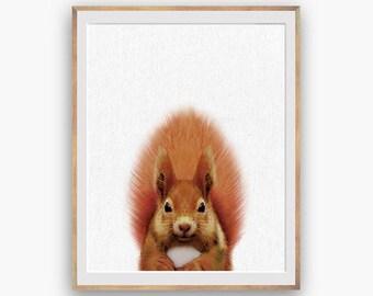 Squirrel nursery Print, peekaboo print, Nursery Art, Digital Download, Large Printable Poster, Forest Animals, red squirrel printable