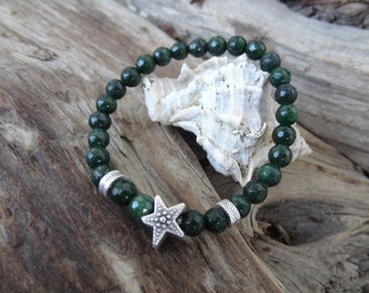 EXPRESS SHIPPING,Emerald GreenBracelet, Agate Bracelet, Star Symbol Bracelet, Stretch Bracelet, Unisex Jewelry, Gift for Her,Valentine's