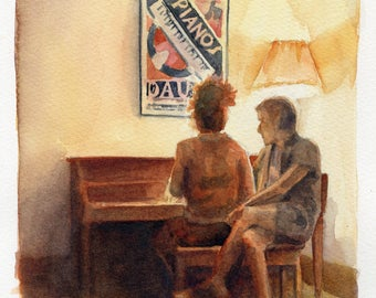 6x8 Original Watercolor Painting - The Piano