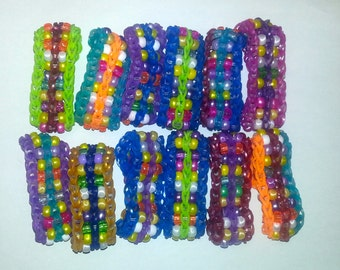 Rainbow Loom Bracelets With Beads (variety of colors and beads) Party Favors