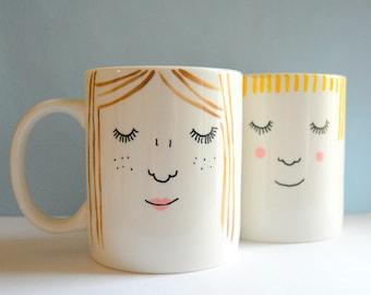 Personalised Face Mugs - Set of 2 - Best Friends - Friendship Gift - Portrait - Customized - Coffee - Tea - Bespoke - Unique - Custom - Love
