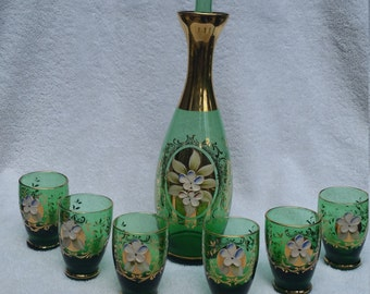 Beatiful Authentic Vintage Italian Murano Glass hand painted wine decanter set