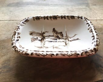 Vintage SOAP dish of Faienceries de Sarreguemines may French stoneware with floral ceramic
