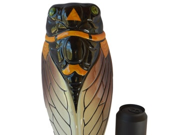 """Large Vintage French  Vallauris Majolica Wall Pocket -13.39""""- Cicada Wall Vase - South of France - Provence Souvenir - Shabby Chic French"""