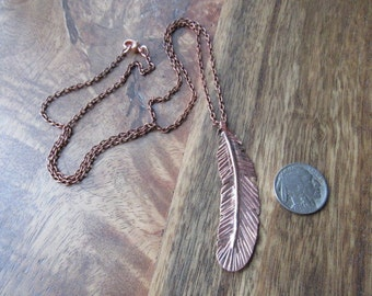 Copper Feather Necklace