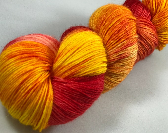 "Hand Dyed Fingering Yarn, 100% Superwash Bluefaced Leicester Wool ""Firework"""