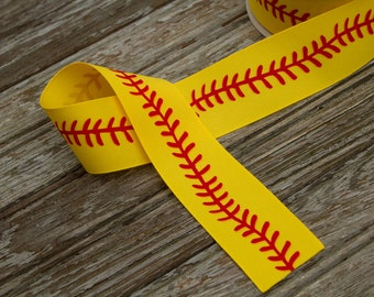 "1.5"" Softball Stitch Pattern Grosgrain Ribbon - Softball Ribbon -"