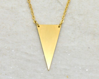 Solid Triangle Necklace, Brushed 24k Gold Plated Stainless Steel, Dainty Minimal Geometric Layering Layered Long Necklaces