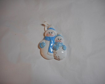 Blue and White Snowman family of 2