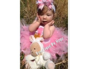 Pink and Gold Princess Birthday Tutu Petti Dress with Crochet Top and Hair Bow or Headband