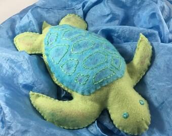 Sea turtle toy, felt turtle, wool felt sea turtle, turtle stuffed animal