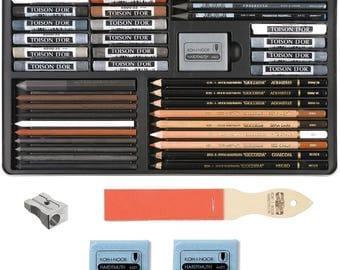 Koh-I-Noor Drawing/Sketching/Toning Art Set Gioconda ( Set of 39 ) For Artist's + Lead Sharpener + 2 Extra Reasers + Pencil Sharpener