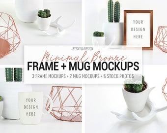 Stock photos bundle, Picture frame mockup, Mug mockup, Cactus stock image, Stock photos, photos for Instagram, neutral stock, spring images