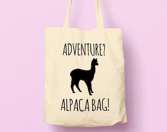 Alpaca Bag Cute Adventure Bag - Reusable Tote Shopping Canvas Bag