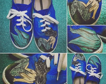 Custom Painted Shoes - Siren/Mermaid