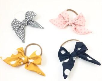 Polka dot headbands, baby girl headbands, sailor bow