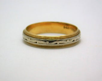 14 K Yellow and White Gold Band