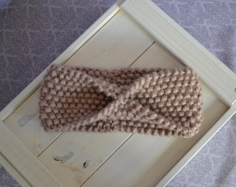 Knitted wool old pink headband with a bow, perfect for spring, hand knitted, spring fashion
