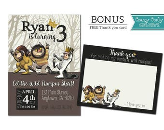Where the Wild Things Are Invitation, FREE Thank You Card, 1st Birthday party invitation, Digital Download or Printed Invitation w/envelope