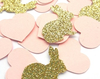 Bunny Rabbit & Heart Pink Gold Glitter Table Confetti,first birthday baby shower, EASTER