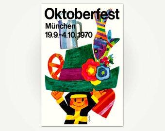 Oktoberfest München / Munich German Poster Print - 1970 Oktoberfest Beer Festival Poster Art