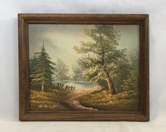 Vintage Framed Waterside Nature Scene Oil Painting