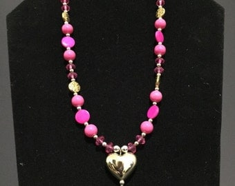 classic pink heart necklace