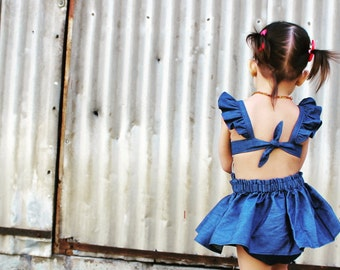 Violet sunsuit in denim (Skirt sold separate)
