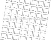 SALE - Header Flags and Banner Flags Doodle Stickers (Black & White) - 1 JPEG, 1 PDF - Instant Download
