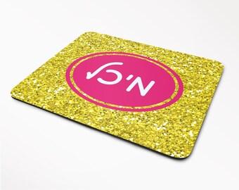 Hebrew Name Mousepad - Jewish Teen Gift - Bat Mitzvah - Hebrew School - Jewish Name - Hebrew Bespoke -  Glitter Mousepad - FREE SHIPPING