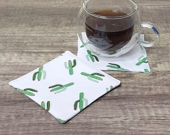 Cactus Fabric Coasters, Pair of coasters, mug rugs