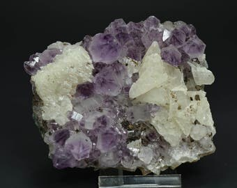 Deep Royal Violet Thin Amethyst Cluster With Frosty Calcite! 244 grams! From Brazil!