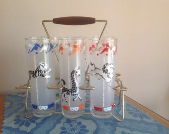 Libby Merry Go Round Glasses in Caddy