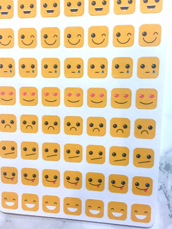 Square Emoji Stickers for Daily Planners