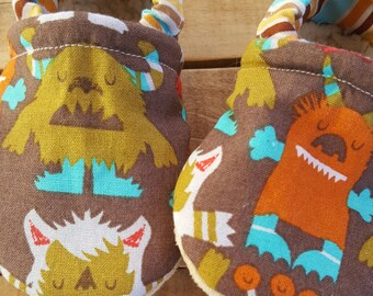 Monsters, brown, Moccasins, baby crib shoes, soft sole