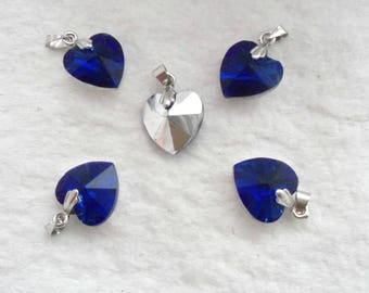 Crystal Heart Charms, Pack of 5  - Blue with Mirrored Back (1579)